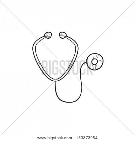 Stethoscope vector sketch icon isolated on background. Hand drawn Stethoscope icon. Stethoscope sketch icon for infographic, website or app.