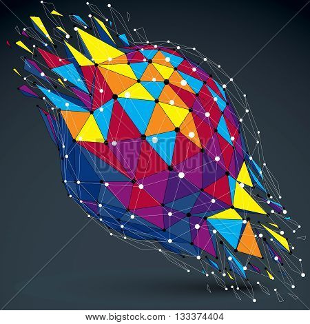 3d vector low poly object with connected lines and dots colorful digital geometric wireframe shape with different particles. Asymmetric bright perspective shattered form.