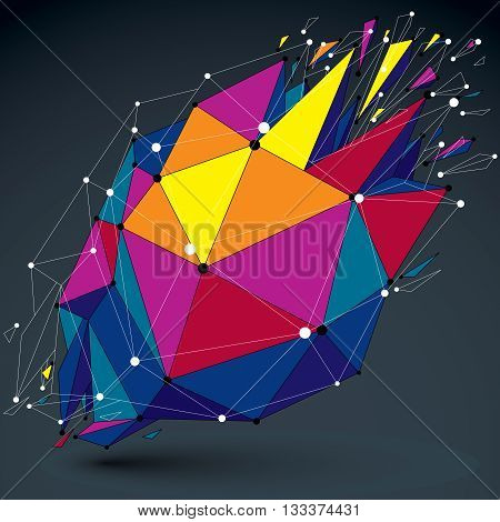 3d vector low poly object with connected lines and dots colorful digital technology wireframe shape with different particles. Asymmetric bright perspective shattered form.