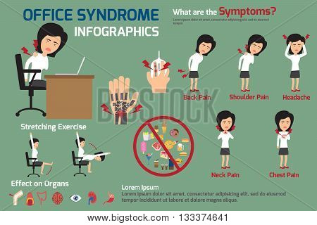 woman office syndrome infographics women office syndrome symptoms and effect to organs with stretching exercise. office syndrome for advertising vector illustration.
