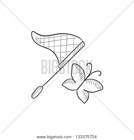 Butterfly and net vector sketch icon isolated on background. Hand drawn Butterfly and net icon. Butterfly and net sketch icon for infographic, website or app.