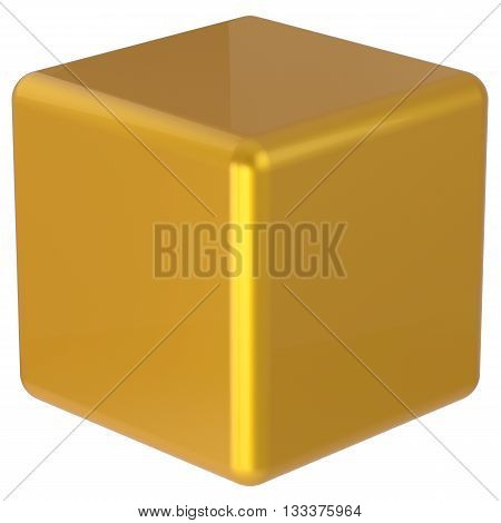 Cube box yellow golden simple minimalistic geometric shape square brick figure block basic solid dice glossy element single shiny blank object. 3d render isolated