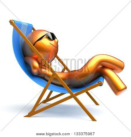 Man chilling beach deck chair smiley relaxing sunglasses summer cartoon character comfort sun lounger chaise lounge tourist sunbathing rest harmony vacation stylized person golden. 3d render isolated