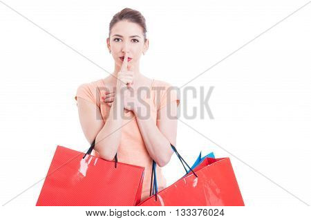 Shopper Lady With Finger On Lips Gesture Like Being Quiet