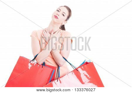 Young Lady At Shopping Being Happy Accomplished And Content