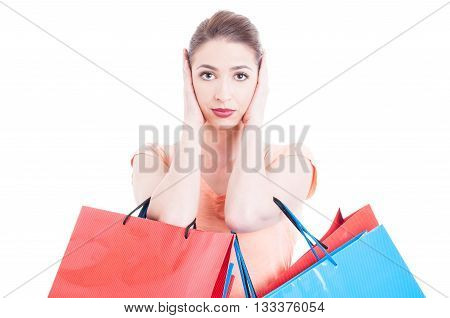 Woman Carrying Shopping Bags Making Deaf Gesture