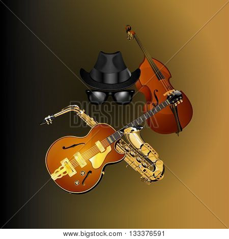 Vector illustration objects blues hat glasses guitar saxophone and contrabass.