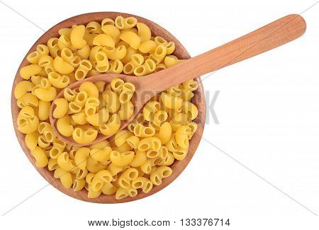 Uncooked Italian Pasta Pipe Rigate In A Wooden Bowl On A White