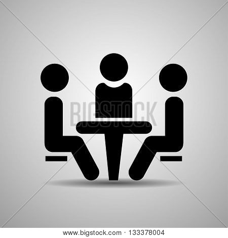 Conference icon. People sitting at the table.