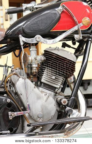 SZCZECIN, POLAND - May 31, 2016: Details of old Polish motorcycle Sokol 600 in Museum of Technology and Communication. Shallow depth of field
