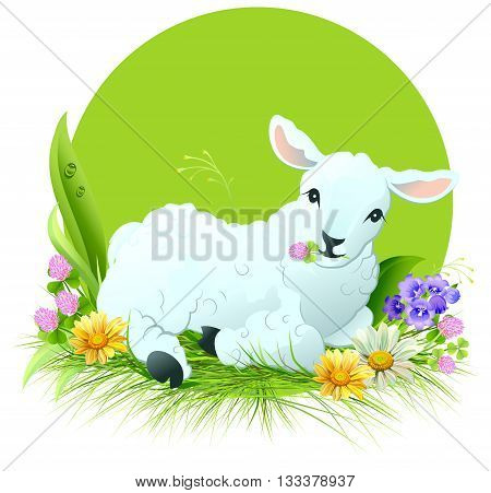 Eid al Adha. White lamb lying on grass. Illustration in vector format