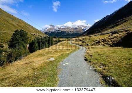 Footpath in Rofen ,Autumn, Oetztal in Tyrol (Austria)