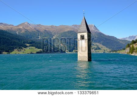 The Bell Tower of Curon, South Tyrol (Italy)