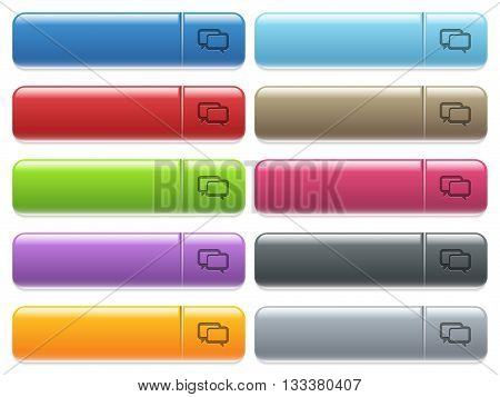 Set of Chat bubbles glossy color menu buttons with engraved icons