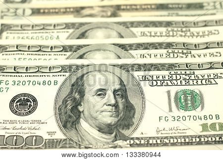 One Hundred Dollar Bills Close-up, selective focus