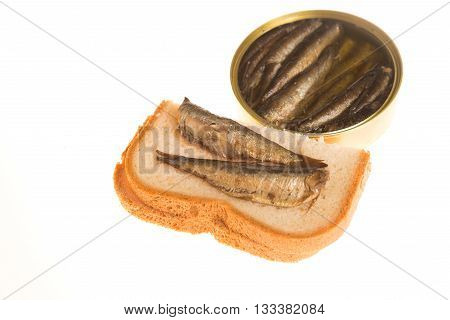 Open Can And Sandwich Of Sprats On A Isolated Background