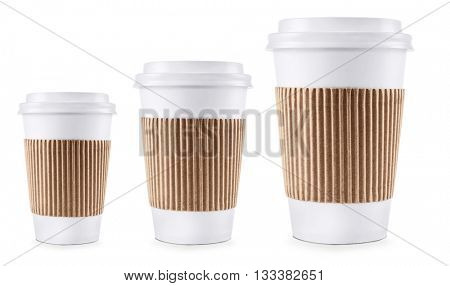 Three paper cups different sizes isolated on white