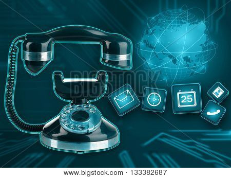 Retro phone with icons on telephone network background