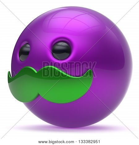Mustache emoticon cartoon character smiley face cute ball happy joyful handsome person caricature icon purple green. Cheerful laughing fun sphere positive avatar. 3d render isolated
