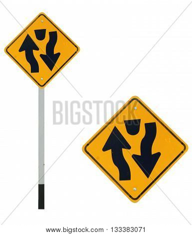 Dual carriage way ahead traffic sign isolated on white color background