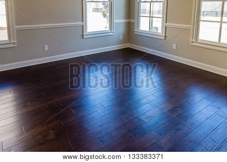 Light Through UV Windows onto Hardwood Floor in New House