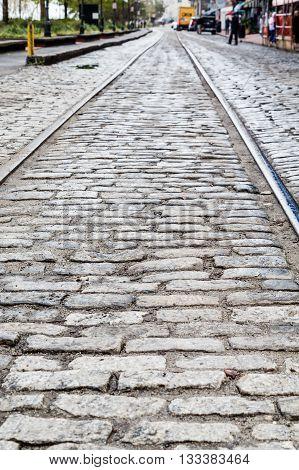 Steel Tracks in Cobblestone Street in Savannah