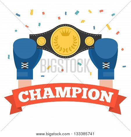 boxing holding championship belt with champion red ribbon, winner boxing concept vector,box flat design