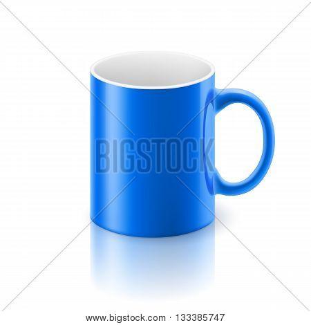 Blue glossy mug on the white background.