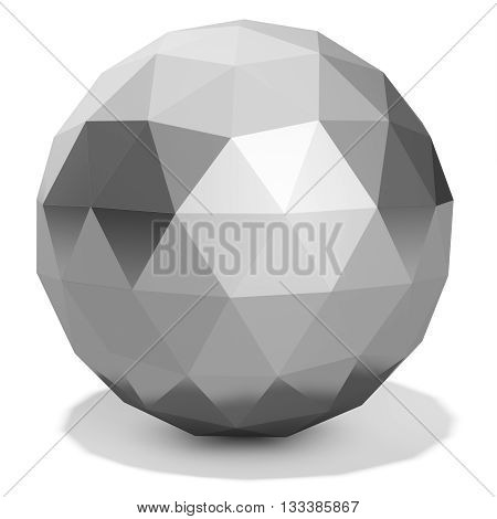 3D Silver Faceted  Sphere