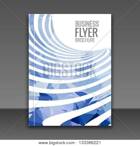 Cover Report Business Colorful blue Stripes Triangle Polygonal Geometric pattern Design Background, cover magazine report, Brochure Book Cover Template layout, vector illustration.