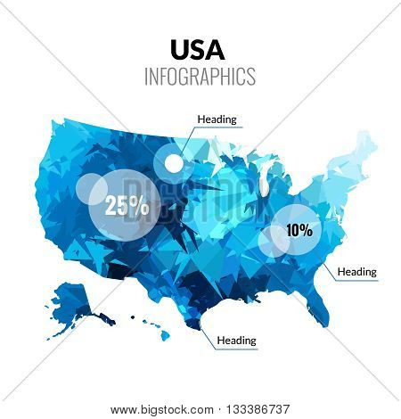 Vector USA America polygonal triangle blue map infographics.