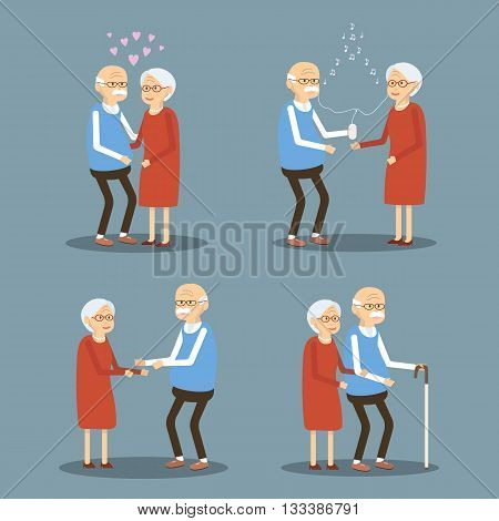 Set of illustrations from the lives of retired people. Seniors couple lifestyle. Old woman and man walking, hugging, listening to music on smartphone, love