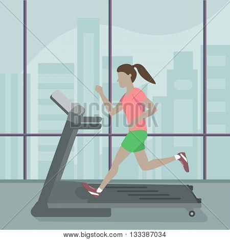 Woman running on a treadmill at the gym. Vector flat design illustration. Sports, exercises