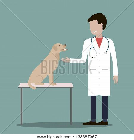 Male veterinarian doctor with a dog. Veterinary concept colorful icon. Vector illustration flat design