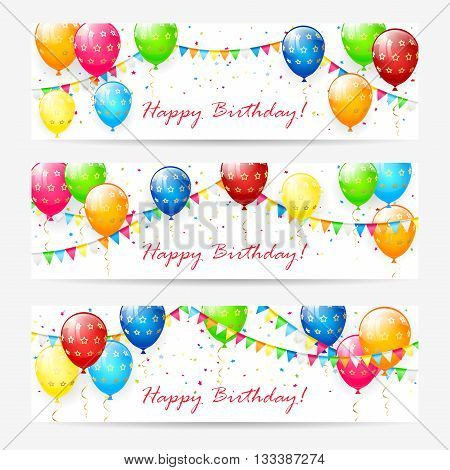 Happy Birthday cards, Birthday cards with colorful balloons, multicolored confetti, holiday pennants and the inscription Happy Birthday on white background, illustration.