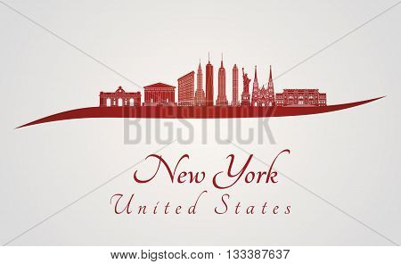New York skyline in red and gray background in editable vector file