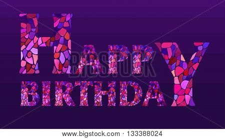 Happy Birthday Watercolor mosaic Style Hand lettering on navy blue striped background. Original Watercolor mosaic Happy Birthday Greeting Card - vector Illustration