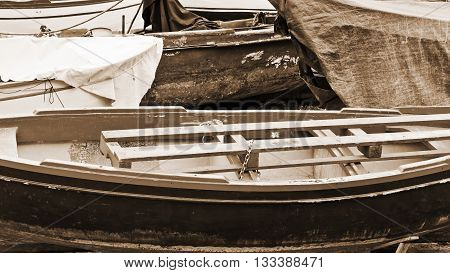 Wooden Boats on the Mediterranean Coast in the Italian City of Cetara Vintage Style Sepia