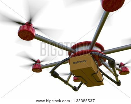 Red and gray hexacopter isolated on a white background. Shipping to home. Flying courier. 3d illustration