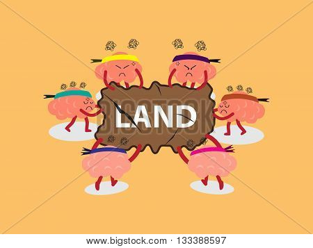 brains cartoon character vector illustration snatching for land board by pulling out with both hands (conceptual image about each person try to snatch to win a land with stress)