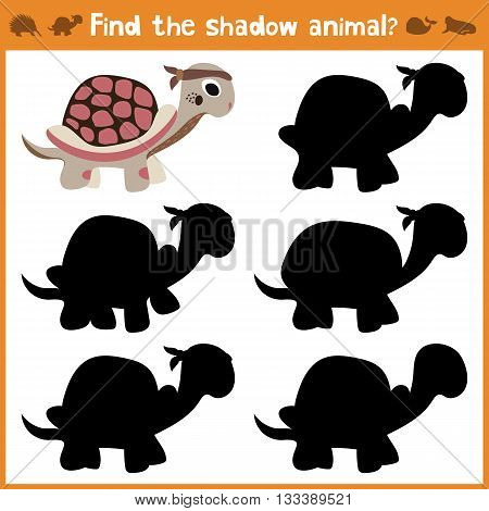 Cartoon vector illustration of education will find appropriate shadow silhouette animal turtle. Matching game for children of preschool age. Vector