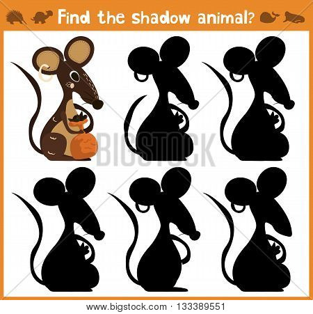 Cartoon vector illustration of education will find appropriate shadow silhouette animal mouse. Matching game for children of preschool age. Vector illustration