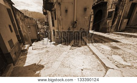 View to Historic Center City of Palermo in Sicily Vintage Style Sepia