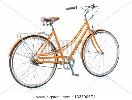 Stylish womens orange bicycle isolated on white background