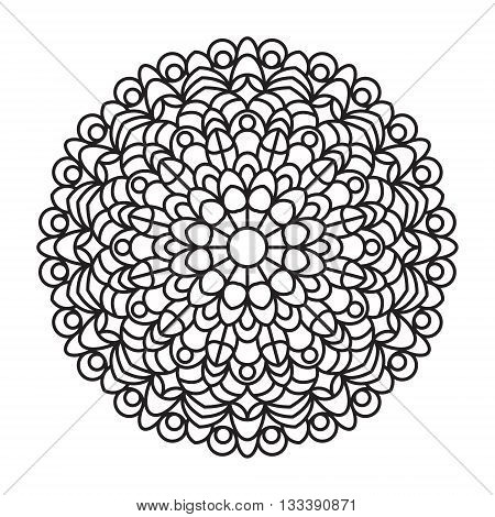 Mandala outline. Line mandala isolated on white background. Anti stress intricate black mandala for anti stress coloring books cards stamps web design and more.