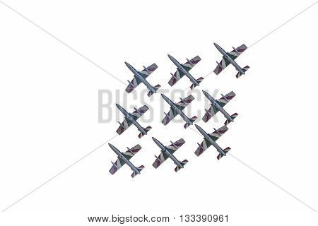 Bologna, Italy - July 05, 2015: Italian Tricolor Arrows at airshow on white background