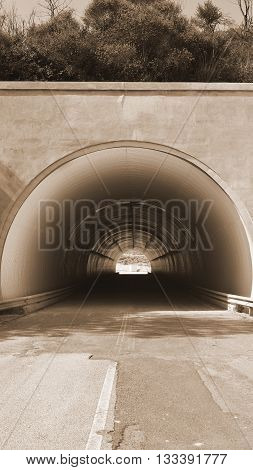 Tunnel on the Road in Sicily Vintage Style Sepia