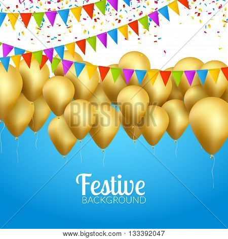 Vector festive card golden balloons and confetti, party invitation. Festive celebration background.