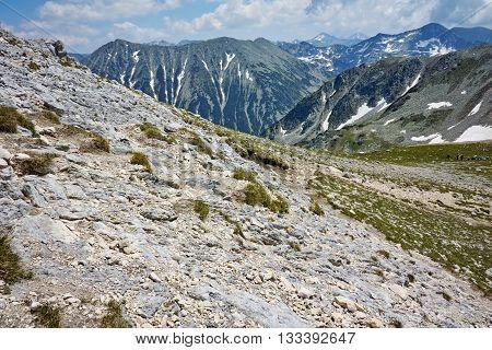 Amazing panorama to northen Pirin mountain from Vihren peak, Bulgaria