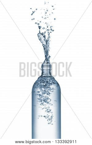 bottle of natural water with splash isolated on white